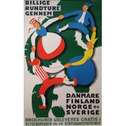 1960s Nordic Train Travel Poster - Original Vintage Poster