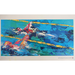 1976 Swimming Race by LeRoy Neiman - Original Vintage Poster