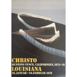 1978 Christo and Jeanne-Claude Running Fence Exhibition on Louisiana - Original Vintage Poster