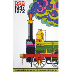 1972 Danish State Railways 125th Anniversary - Original Vintage Poster