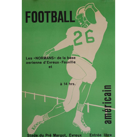 1960s French American Football Poster - Original Vintage Poster
