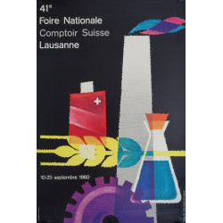 1960 Swiss Bakery Fair 41e Foire Nationale Comptoir Lausanne - Original Vintage Poster