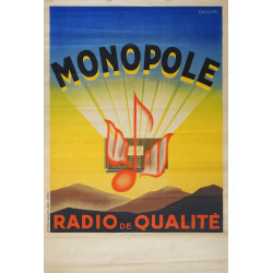 1930s French Radio Advertisement Monopole - Original Vintage Poster