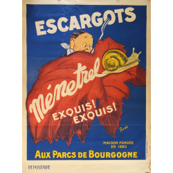 1930s French Snail Advertisement Escargots Menetrel - Original Vintage Poster
