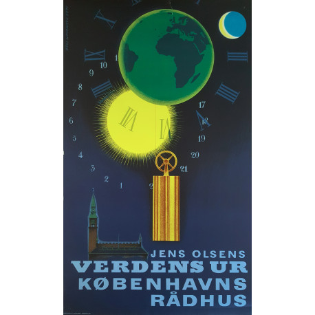 1957 Copenhagen City Hall Clock by Aage Rasmussen - Original Vintage Poster