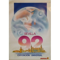1992 Iberia Airlines Expo'92 Sevilla Travel Poster - Original Vintage Poster