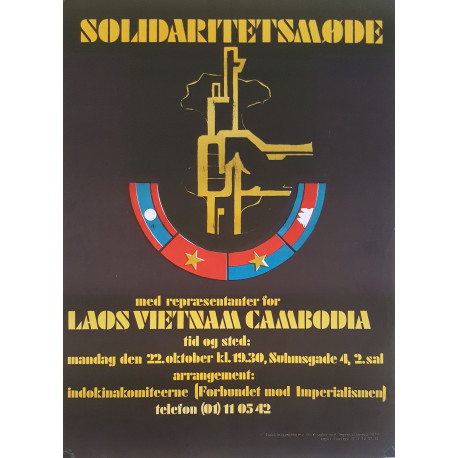 1970s Solidarty with Laos Vietnam and Cambodia - Original Vintage Poster