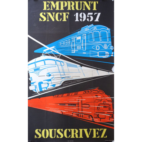 1957 SNCF French Train Travel Poster - Original Vintage Poster