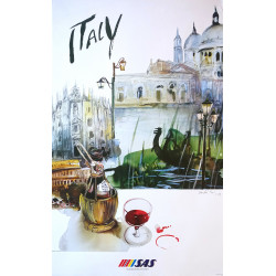 1992 Italy Travel Poster by SAS - Original Vintage Poster