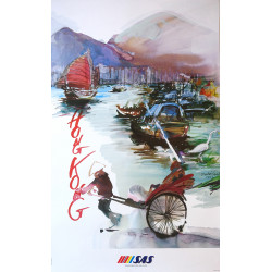 1992 Hong Kong Travel Poster by Scandinavian Airlines - Original Vintage Poster