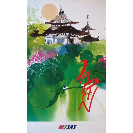 1992 Japan Travel Poster by Scandinavian Airlines - Original Vintage Poster