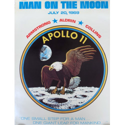 1969 Apollo 11 Poster Man on the Moon - Original Vintage Poster