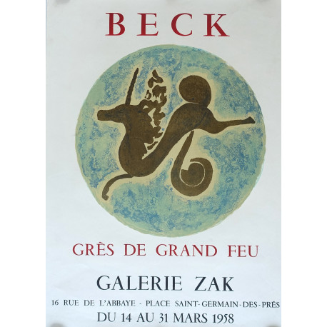 1958 Beck Exhibition at the Galerie Zak in Paris - Original Vintage Poster