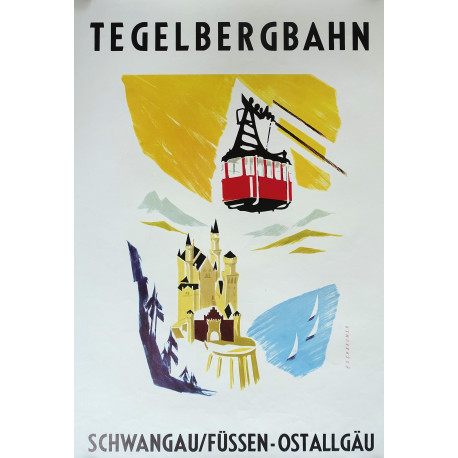 1960s Tegelbergbahn Cable Car at Neuschwanstein Castle - Original Vintage Poster