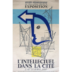 1957 French Exhibition Poster l'Intellectuel dans la Cite - Original Vintage Poster