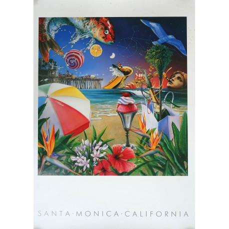 1988 Santa Monica California Travel Poster - Original Vintage Poster