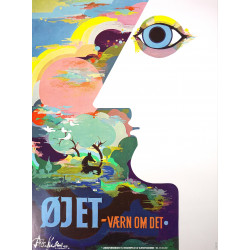 "1983 Bjørn Wiinblad's ""The Eye"" - Original Vintage Poster"