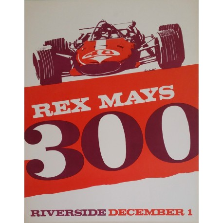 1960s REX MAYS 300 Open Wheel Car Race poster - Original Vintage Poster