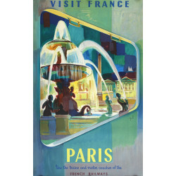 1952 Paris Travel Poster by SNCF French National Railways - Original Vintage Poster