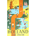 1950s Holland For Youth Travel Poster - Original Vintage Poster