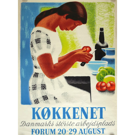 1954 Kitchen Exhibition Forum by Sikker Hasen - Original Vintage Poster