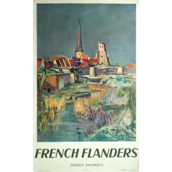 1953 French Train SNCF French Flanders - Original Vintage Poster