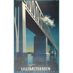 1951 Little Belt Bridge / Lillebæltsbroen by Aage Rasmussen - Original Vintage Poster