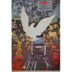 1989 Russian May Peace Freedom Poster - Original Vintage Poster