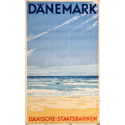 1928 Denmark Beach Travel Poster by Bøgelund - Original Vintage Poster
