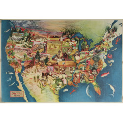 1946 American Soil, Fishing and Industry Map - Original Vintage Poster