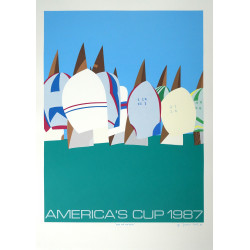 1987 America's Cup Race XV by Franco Costa - Original Vintage Poster