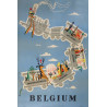 1950s Belgium Railroad Travel Poster - Original Vintage Poster