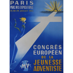 1951 Paris European Youth Congress - Original Vintage Poster