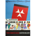 1960s Hamburg Atlantic Line Travel Poster - Original Vintage Poster