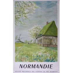 1958 French Train SNCF Normandy - Original Vintage Poster