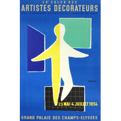 1954 Exhibition Salon des Artistes Decorateurs by Bernard Villemot - Original Vintage Poster