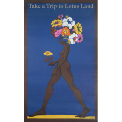 1960s Milton Glaser Take a Trip to Lotus Land - Original Vintage Poster