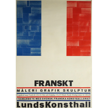 1960 French Art Exhibition Poster French flag - Original Vintage Poster