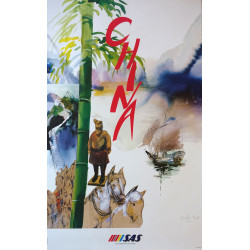 1992 China Travel Poster by SAS - Original Vintage Poster