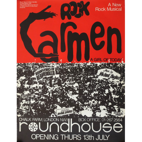 1970s Rock Carmen Musical at Roundhouse London - Original Vintage Poster