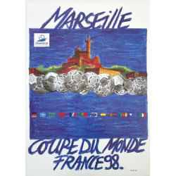1998 FIFA World Cup Football/Soccer Championship - Marseille - Original Vintage Poster
