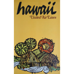 1967 Hawaii United Airlines Huts by James Jebavy - Original Vintage Poster