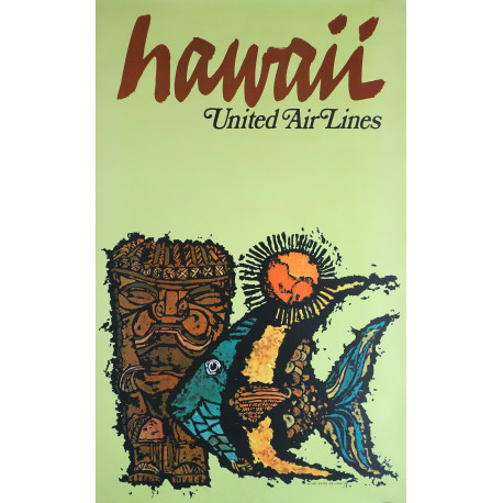 1967 Hawaii United Air Lines Fish by James Jebavy - Original Vintage Poster