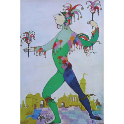 "1970s ""The Jester"" from the Little Mermaid by Bjørn Wiinblad - Original Vintage Poster"