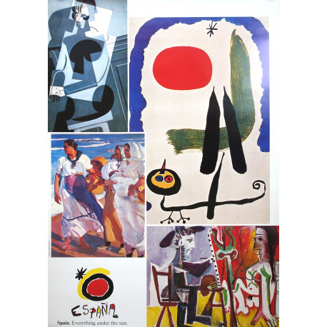 1987 Spain Travel Poster by Miro & Picasso - Original Vintage Poster