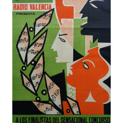 1950s Radio Valencia Singing Contest - Original Vintage Poster