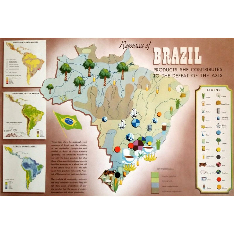1940s WWII Map of Brazil - Products she contributes to the defeat of ...