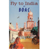 1950s Fly to India by B.O.A.C. - Original Vintage Poster