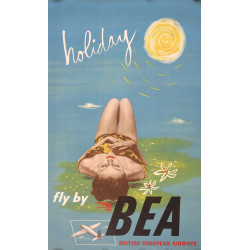 1940s Fly by British European Airways Holiday - Original Vintage Poster