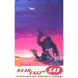 1950s SAS Airline Poster Near East by Otto Nielsen (Camels) - Original Vintage Poster